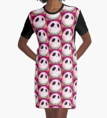 Single Jack Skellingtons Face 1 Graphic T-Shirt Dress