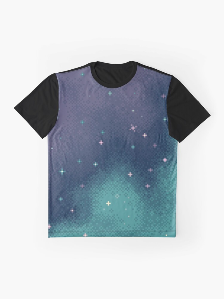 Alternate view of Lilac and Aqua Pixel Galaxy Graphic T-Shirt