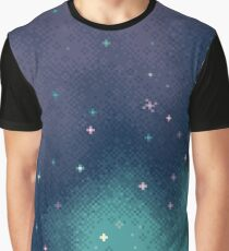 Flieder und Aqua Pixel Galaxy Grafik T-Shirt