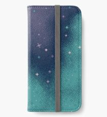 Flieder und Aqua Pixel Galaxy iPhone Flip-Case/Hülle/Skin