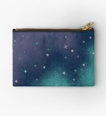 Lilac and Aqua Pixel Galaxy Studio Pouch