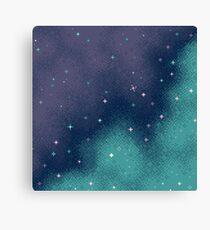 Lilac and Aqua Pixel Galaxy Canvas Print