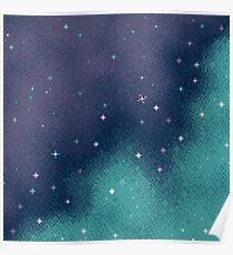 Flieder und Aqua Pixel Galaxy Poster