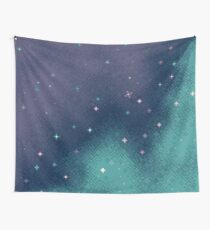 Lilac and Aqua Pixel Galaxy Wall Tapestry