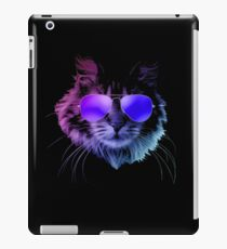 Cool Furry Cat with Sunglasses In Neon  iPad Case/Skin