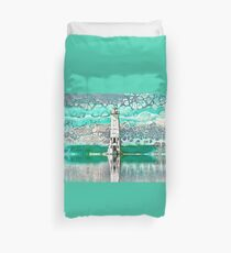 """Frankfort Lighthouse Reflections - Teal"" - Fluid Art Duvet Cover"