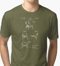 Mid Century Eames LCW Molded Plywood Chair Patent Drawing Tri-blend T-Shirt