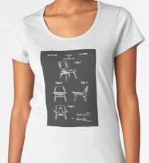 Mid Century Eames LCW Molded Plywood Chair Patent Drawing Women's Premium T-Shirt
