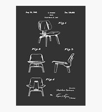 Mid Century Eames LCW Molded Plywood Chair Patent Drawing Photographic Print