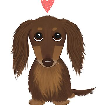Long Haired Chocolate Dachshund with Heart by ShortCoffee