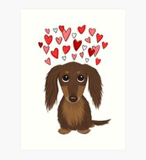 Long Haired Chocolate Dachshund with Hearts Art Print
