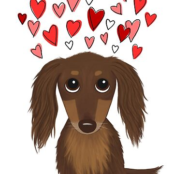Long Haired Chocolate Dachshund with Hearts by ShortCoffee