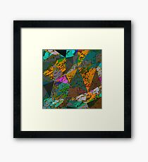 psychedelic geometric triangle pattern abstract with painting abstract background in orange green pink Framed Print