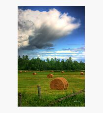 Clouds Over a Hayfield in Ontario Photographic Print