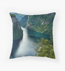 Norway fjord Throw Pillow
