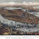 Vintage Map of New York and Brooklyn circa 1875 by Glimmersmith