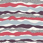 WAVES and RIPPLES, blue, berry, pink, black, cream by mapmapart