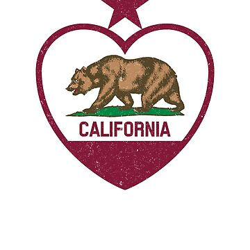 California Republic Heart Shaped Distressed Flag T-Shirt by cosfrog