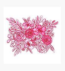 Pink Floral Bouquet Monochrome Watercolor Photographic Print