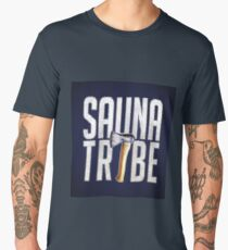 Sauna Tribe - Stacked Axe Wordmark Men's Premium T-Shirt
