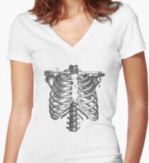 Schulter- und Brustkorb-Diagramm Tailliertes T-Shirt mit V-Ausschnitt