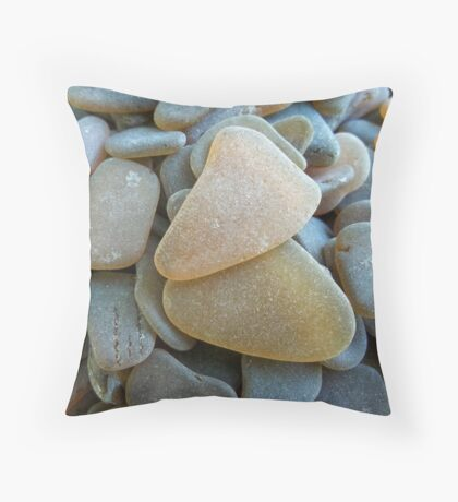 Honey Amber Sea Glass Pieces and Brown Pieces Throw Pillow