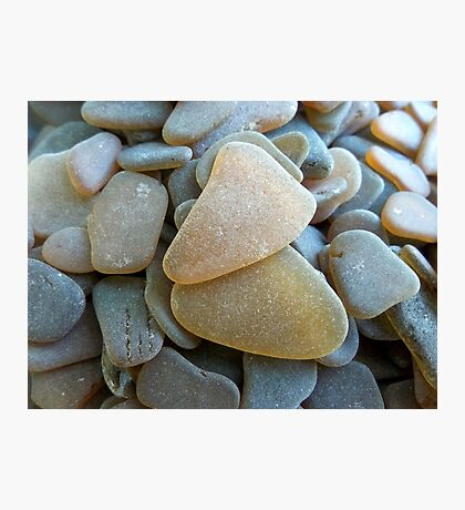 Honey Amber Sea Glass Pieces and Brown Pieces Photographic Print