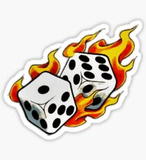 Flaming Dice Lucky 7 Dice Tattoo flash Artwork Design Sticker