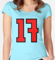 Red, Black Outline Number 17 Women's Fitted Scoop T-Shirt