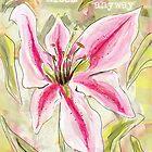 Stargazer Lily-Bloom auf jeden Fall inspirierende Nachricht Design von Clare Walker