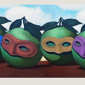 Tangential Magritte Ninja Apples by Twofar