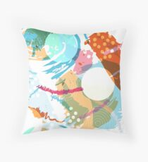 Brush Stroke Pattern with Circles Throw Pillow