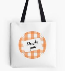 jar lid and sticker peach jam Tote Bag