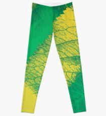 Green Leaf Spring Pattern Leggings