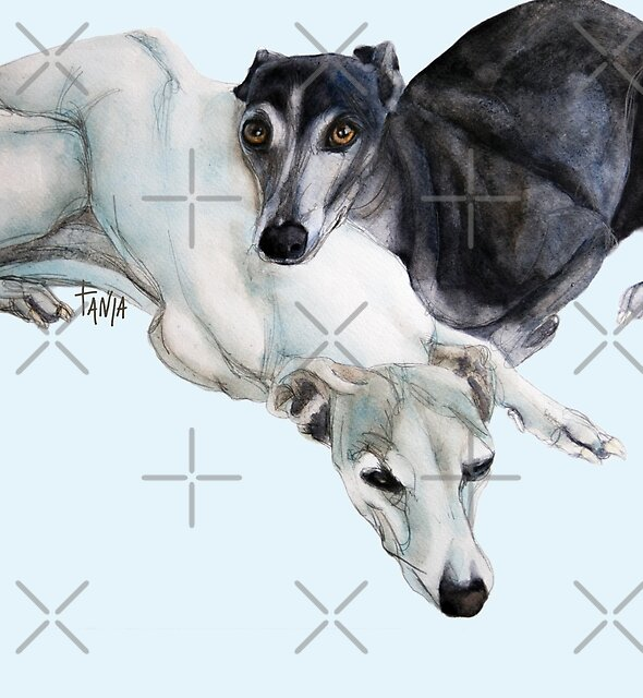 Whippet Art - Lean on me by Tanja Kooymans