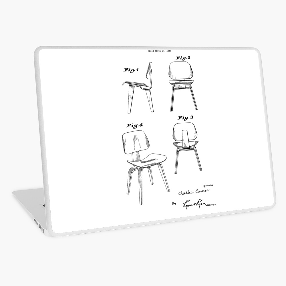 Mid Century Eames Patent Drawings for DCW Molded Plywood Chair | Laptop Skin