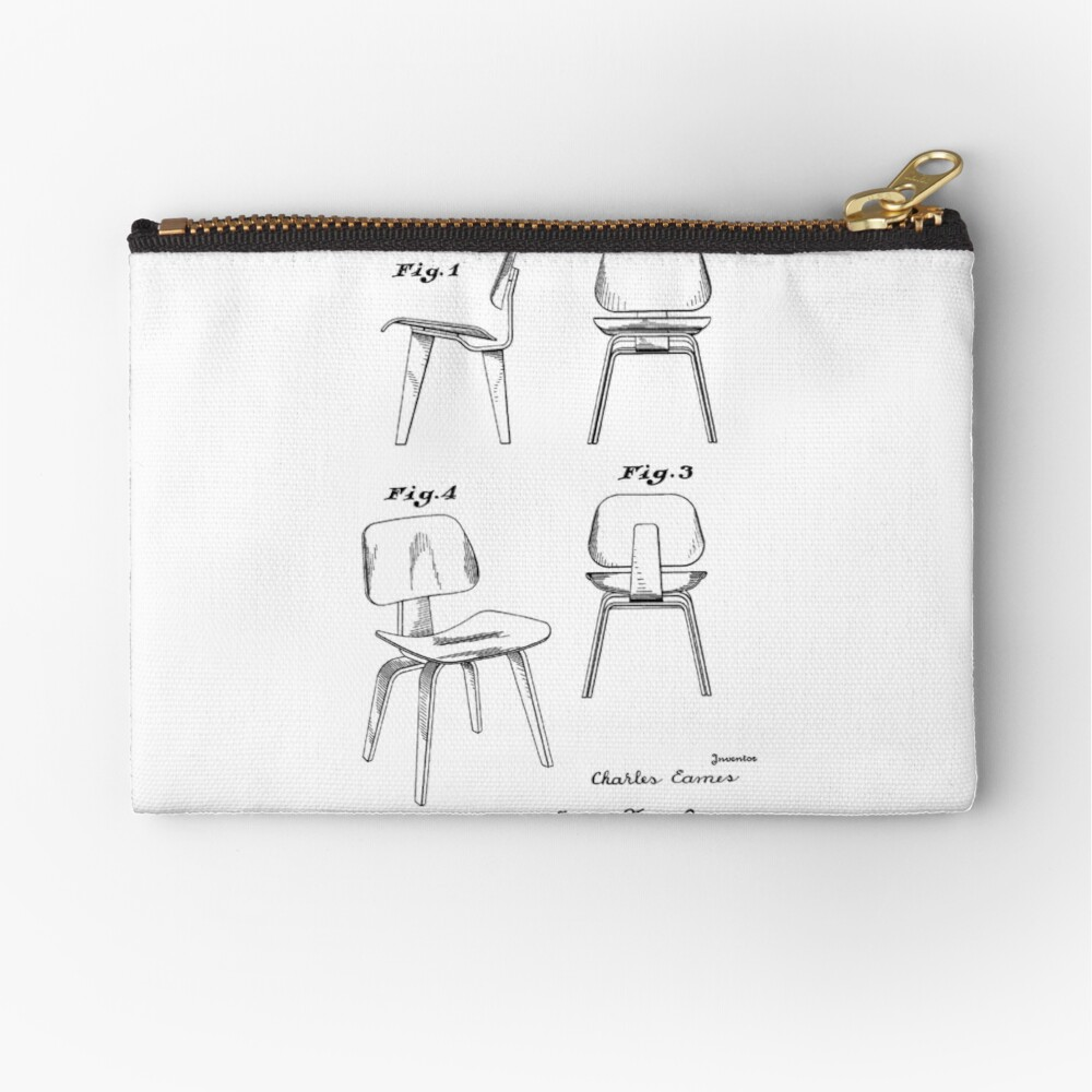 Mid Century Eames Patent Drawings for DCW Molded Plywood Chair | Zipper  Pouch