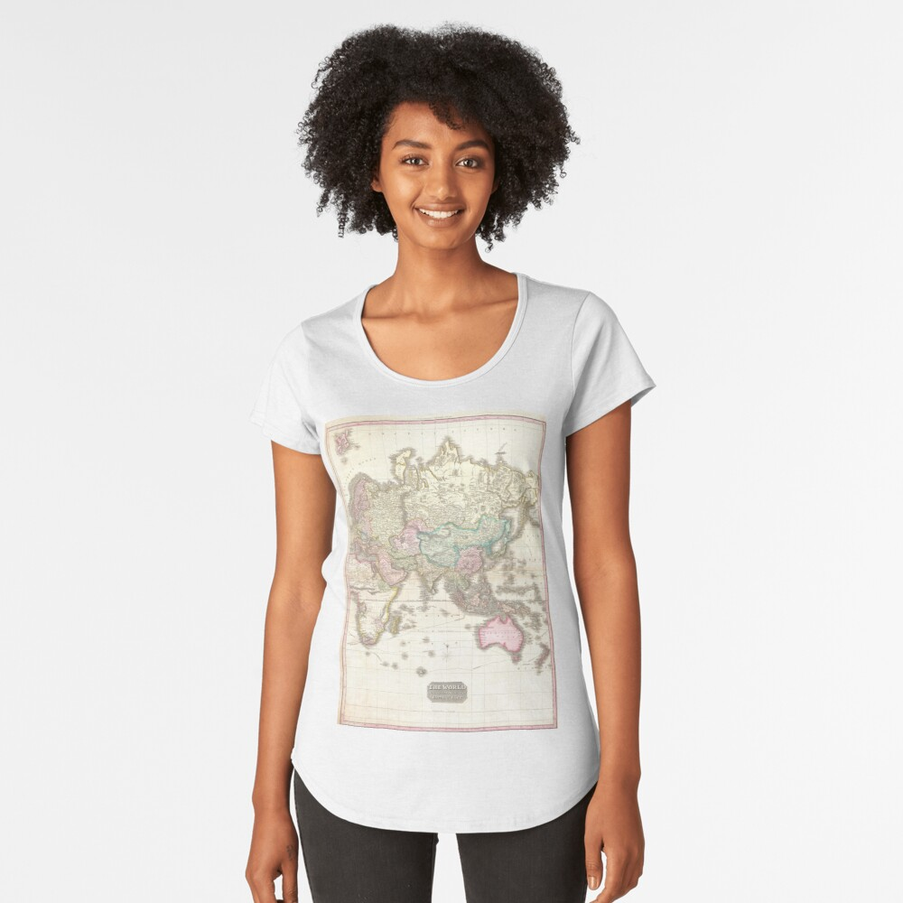 Vintage Map of The Eastern Hemisphere (1818) Women's Premium T-Shirt Front
