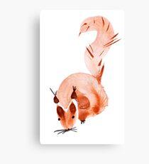 watercolor squirrel. Watercolor hand drawn brush Canvas Print