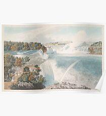 Vintage Illustration of Niagara Falls (1845) Poster
