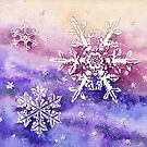 Snow Crystals (watercolour on paper) by Lynne Henderson