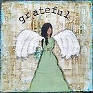 Grateful Angel Mixed Media by Bluewoodsdesign
