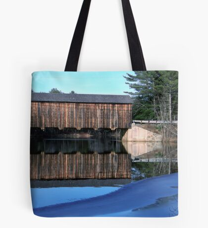 """Icy Waters at """"County"""" Covered Bridge Tote Bag"""