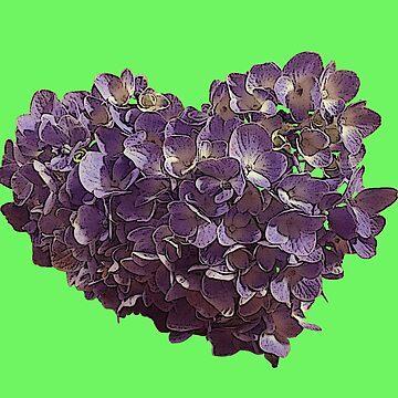 Heart Shaped Purple Lilac Flower Shrub by juniperdesign
