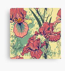 SeaSeamless pattern with decorative  iris flower in retro colors. mless pattern with decorative  iris flower in retro colors.  Canvas Print
