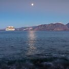 Cruise Ship Departing in the Moonlight by Kasia-D