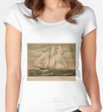 Vintage Schooner Yacht Illustration (1882) Women's Fitted Scoop T-Shirt