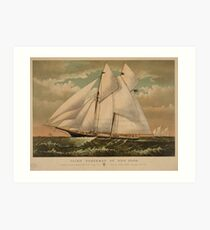 Vintage Schooner Yacht Illustration (1882) Art Print