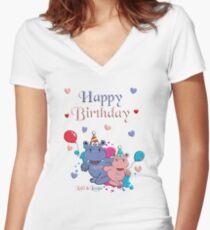 Happy Birthday Shirt mit V-Ausschnitt