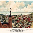Vintage Map, Milwaukee Wisconsin from City Hall tower 1898 by Glimmersmith